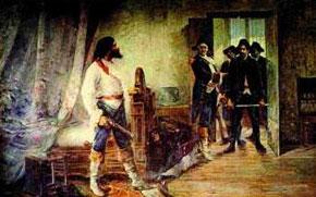 Esta é uma imagem muito interessante, pois mostra ao mesmo tempo um Tiradentes associado à Jesus ao mesmo tempo em que ele resiste a sua prisão.
