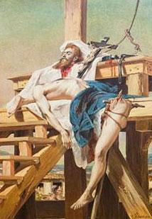 Imagem retratando o corpo esquartejado de Tiradentes.