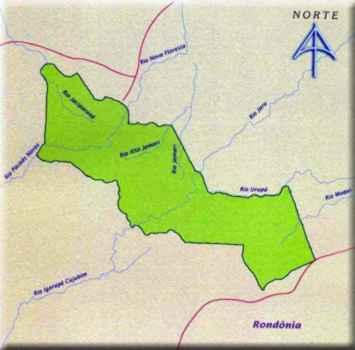 Mapa do Parque Nacional de Pacaás Novas