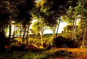 Quadro de Peter Christian Skovgaard: Floresta Delhoved perto do Lago Skarrit, 1847.