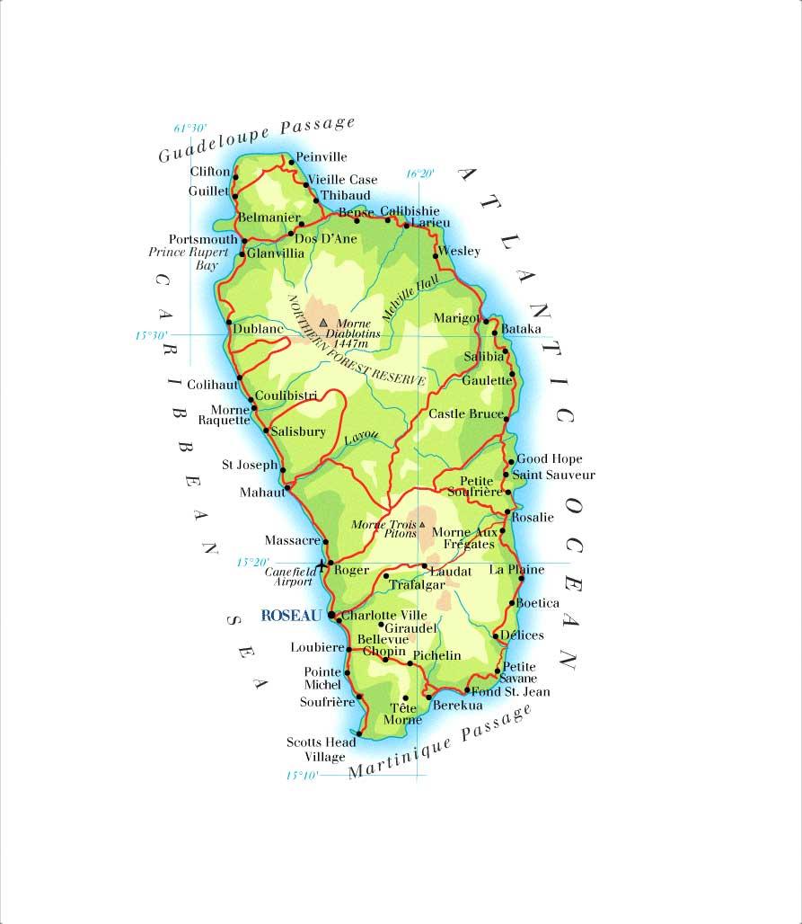 Mapa de Dominica