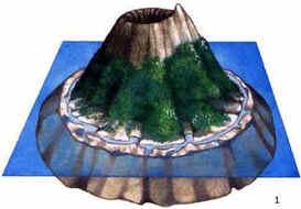 1) Ilha vulcânica rodeada por recifes de franja